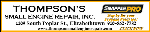 Thompson Small Engine Repair BladenOnline.com ad for May