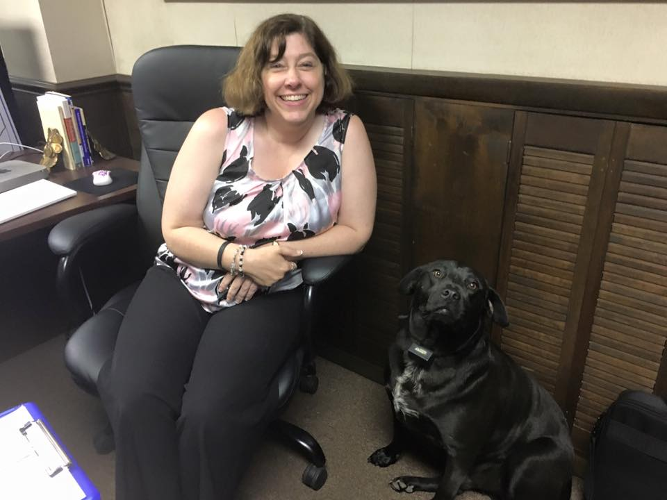 Erin Smith and Bear Bring your dog to work day